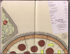 Pizza night! (renmeleon) Tags: art moleskine scrapbook chuckecheese pizza ria renmeleon renfolio