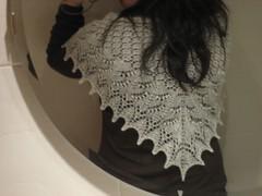 Swallowtail shawl, worn