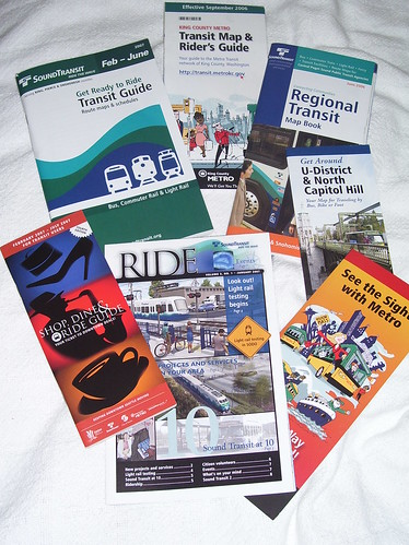 Some Seattle region public transit promotional materials