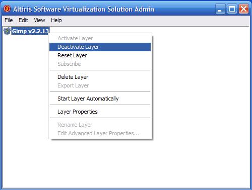 SVS - installazione Gimp - disattiva layer 1