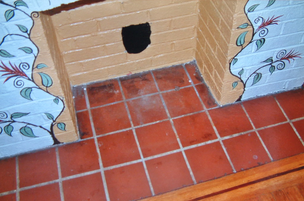 fireplace tile floor - before