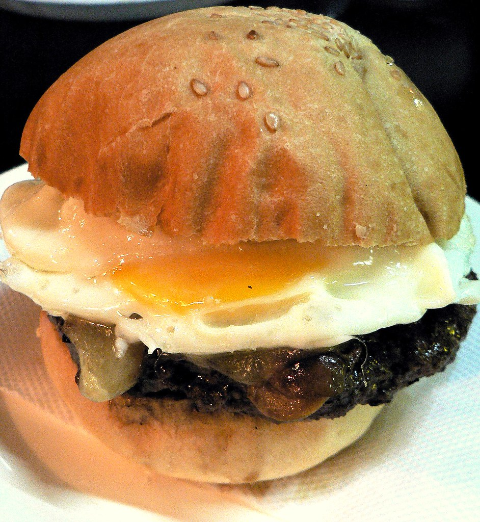 azim's mushroom burger with egg and cheese