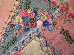 floral spray (Lin Moon) Tags: crazy embroidery cq crazyquilt encrusted crazyquilting sre silkribbonembroidery silkribbon lazydaisy