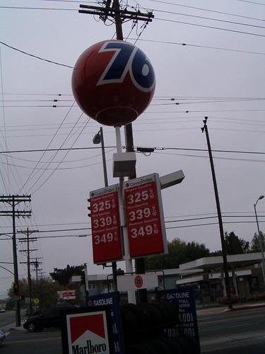 Red 76 Ball at Oxnard and Woodman, Van Nuys, CA closeup