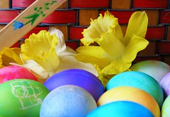 Easter Eggs, Daffodils and Basket