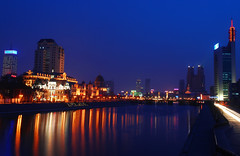 Hai He By Night (II) (NowJustNic) Tags: china blue water reflections river twilight nikon neon published edited bluehour 中国 tianjin 天津 d80 nikkor18135mm haihe cmctppwaterfront