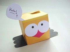 Hello There Chickie! (Warm 'n Fuzzy) Tags: cute yellow birdie toy box craft papercraft piopio paperbox ptf papertoy chikie
