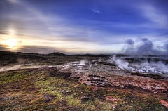 The Earth (Stuck in Customs) Tags: red sun nature colors beautiful grass landscape photography volcano iceland moss nikon bravo photographer view natural earth horizon d2x surreal blues atmosphere steam fave land magical geothermal hdr combination highquality rayes stuckincustoms treyratcliff