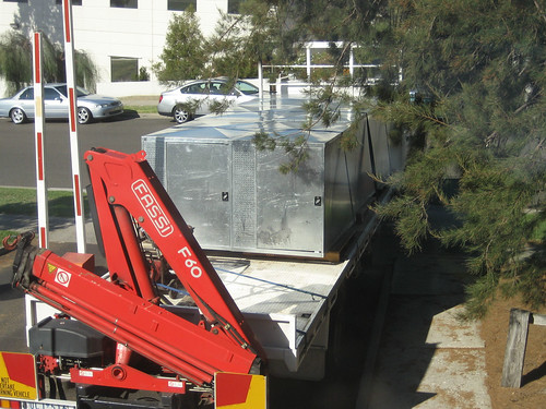A truck with metal boxes