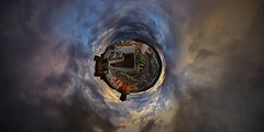 fuegooor in descai! v2 (Rufus Gefangenen) Tags: sky clouds photoshop fire little 21 apocalypse cielo planets fuego pequeños planetas stereographic estereografico fuegooor fuegorindeskai