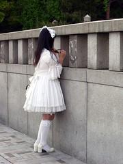 CIMG0091 (a-mole) Tags: white man guy japan tokyo crossdressing harajuku crossdresser whitedress whiteskirt manindress