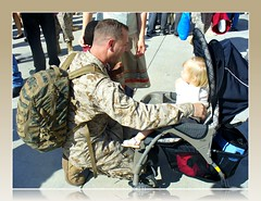 A Marine Dad Greets His Baby Daughter Upon His Return Home from Iraq (Scandblue) Tags: california usa love reunion usmc america daddy dad unitedstates sandiego military father iraq daughter happiness homecoming hero marines pendleton welcomehome camppendleton usmarines hmla367