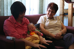 Aunties Priscilla and Finona holding Emeth