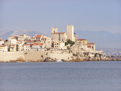 Old town Antibes seen from Salis beach