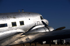 DC-3, March Field Air Museum, Riverside, California (Thad Roan - Bridgepix) Tags: california blue sky metal museum vintage silver airplane shiny riverside steel aircraft historic douglas skytrain dc3 gooneybird blueribbonwinner 200612 marchfieldairmuseum