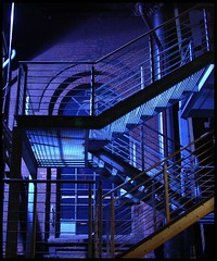 Stairs in Blue (fireleaf) Tags: nightshot ruhrgebiet landschaftsparkduisburgnord fireleaf riimnet