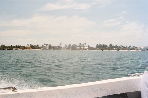 Approaching Caye Caulker by boat