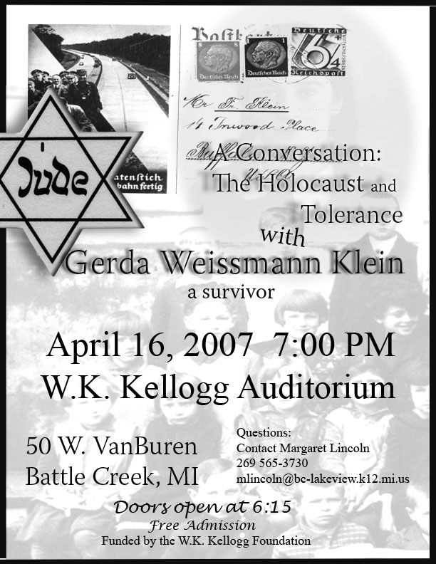 Announcement of Gerda Weissmann Klein's address in Battle Creek, Michigan