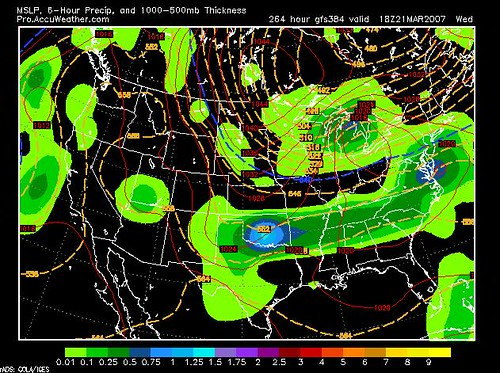 GFS Model Projection for Wed 3-21