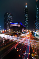Electric City (fjny) Tags: street city longexposure cars lights taiwan explore taipei taipei101 taillights   thesource 101 nightimage 10faves  keelungrd sinyird mytop48