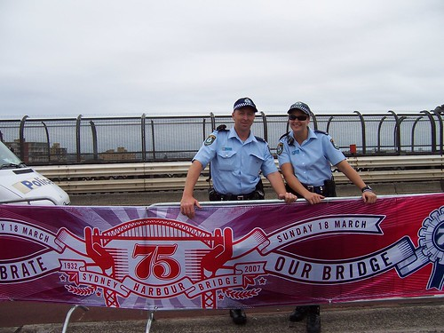 Police officers on Sydney Harbour Birdge 18th of March 2007