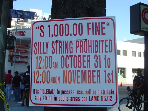 silly string prohibited!  Oct 2006