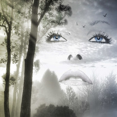 The Dawn of Hope (AzRedHeadedBrat) Tags: trees sky woman sunlight art face silhouette forest landscape dawn interestingness eyes dream surreal lips explore digitalpainting fantasy sunbeams photoshopbrushes sharleneshappart flkwrk