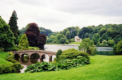 Alone with peace and tranquility (KirscheTortschen) Tags: uk bridge trees water garden stourhead nationaltrust pavillion scannedimage 1on1landscapesphotooftheday impressedbeauty classicscene favoritegarden 1on1landscapesphotoofthedayapril2007