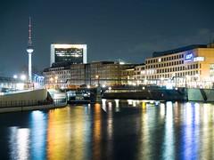 Berlin Nightscene with nice color (benderch01) Tags: color berlin tower germany tv olympus fernsehturm nightscene spree kanzleramt nightexposure evolt500