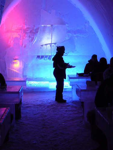 Finland ice restaurant at snow castle