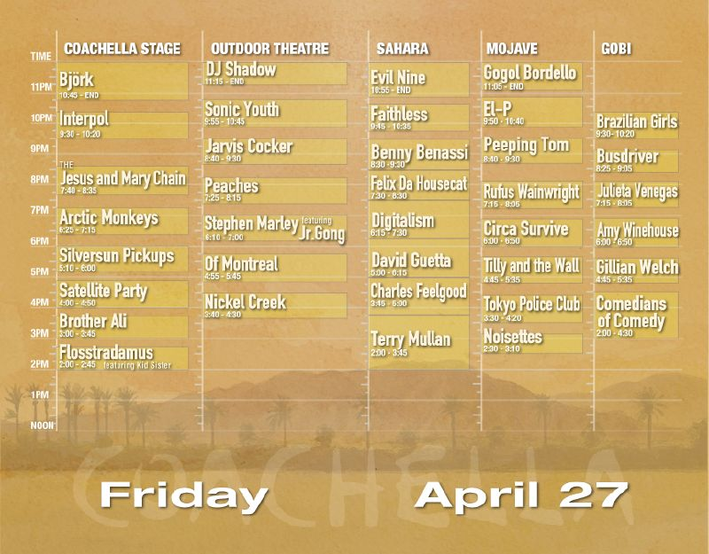 Coachella 2007 Set Times - Friday 4/27