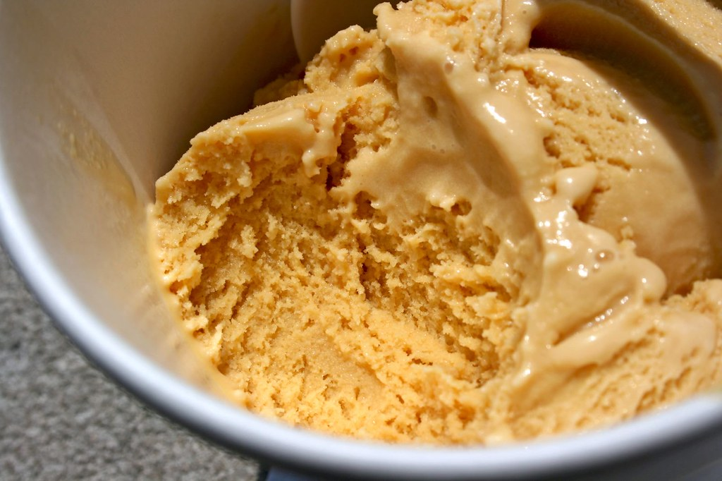 Single Scoop of Caramel Ice Cream - texture shot