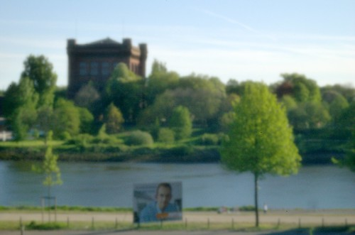 Weser with old water tower shot with a pinhole