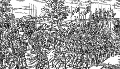 Elizabethan harquebusiers and pikemen on the march in Ireland. The weapons, helmets and powder flasks are the same as those found on the Alderney wreck