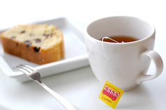 a Cup of Tea and a Slice of Cake, please*** (yoshiko314) Tags: cake tea chocolate homemade teabag chocolatechip lipton yellowlabel 55mmf28aismicro ibaked
