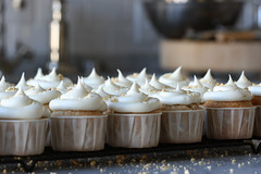 jackfruit, banana, and peanut cupcakes with cream cheese frosting