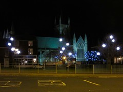 Christmas Lights by The Minster (LookaroundAnne) Tags: church minster greatyarmouth yarmouth norfolk atnight afterdark