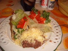 Tacos and refried beans (KimmyFP) Tags: food cheese beef tacos mexican shreddedbeef