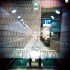 Call Box (Wes Barnes) Tags: atlanta subway holga downtown doubleexposure trains marta peachtreecenter cfn