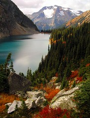 Rohr Lake (storm light) Tags: autumn topf25 colours bc hiking coastmountains optio43wr subalpine rohrlake specland cayooshcreek lillooetranges colorphotoaward cayooshmountain