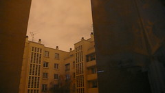 (*Paddy*) Tags: morning paris reflection building window sepia dawn curtain nuages fentre 75015 matin 15me noedited