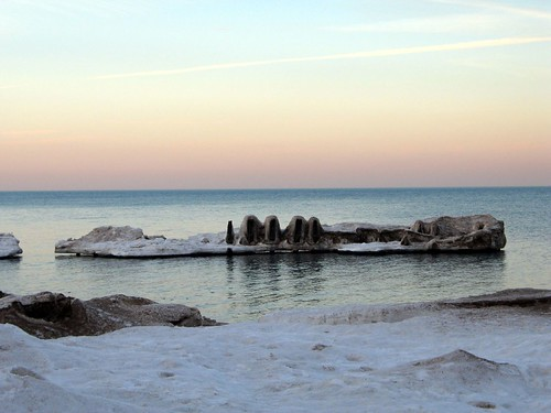 Icy Pier on Lake Michigan