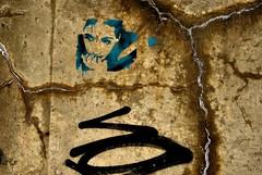 Weathered Face (Ian David Blüm) Tags: urban texture ice concrete stencil spraypaint cracks idb