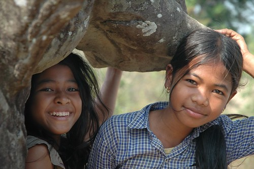 Kids Under an Elephant at East Mebon