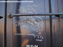 Retribalize ( boxcar art freight train graffiti ) (4 I ARCHIVES) Tags: railroad art train graffiti michael tag stock tags boxcar 06 month hobo freight rolling poulin skipped monikers moniker boxcargraffiti boxcarart retribalize
