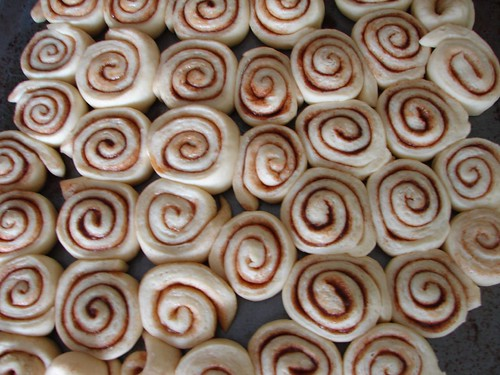 Cinnamon rolls on tray