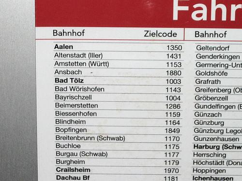 Trens da Deutsche Bahn - códigos com 4 dígitos.