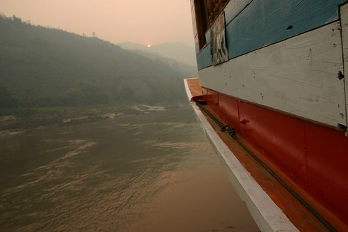 On board the slow boat on the Mekong River...
