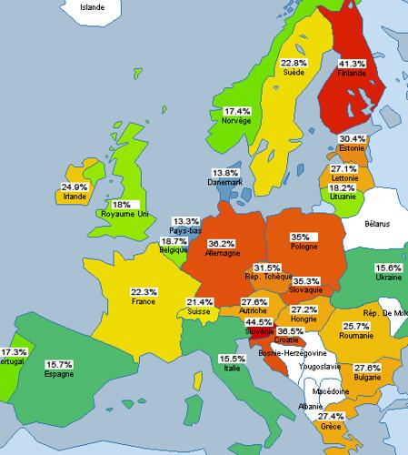 Carte d'europe montrant les parts de marché de Firefox en mars 2007