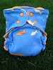 Blue & Orange Fish Knit/Velour Fitted Diaper  <br>with Flap-style Quick Dry Soaker